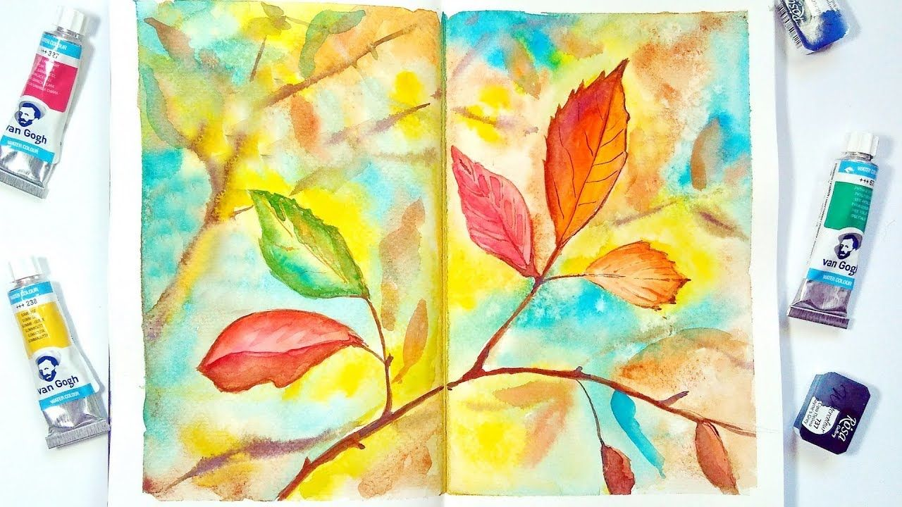 How To Paint Autumn Leaves Easy Watercolor Sketch Painting For