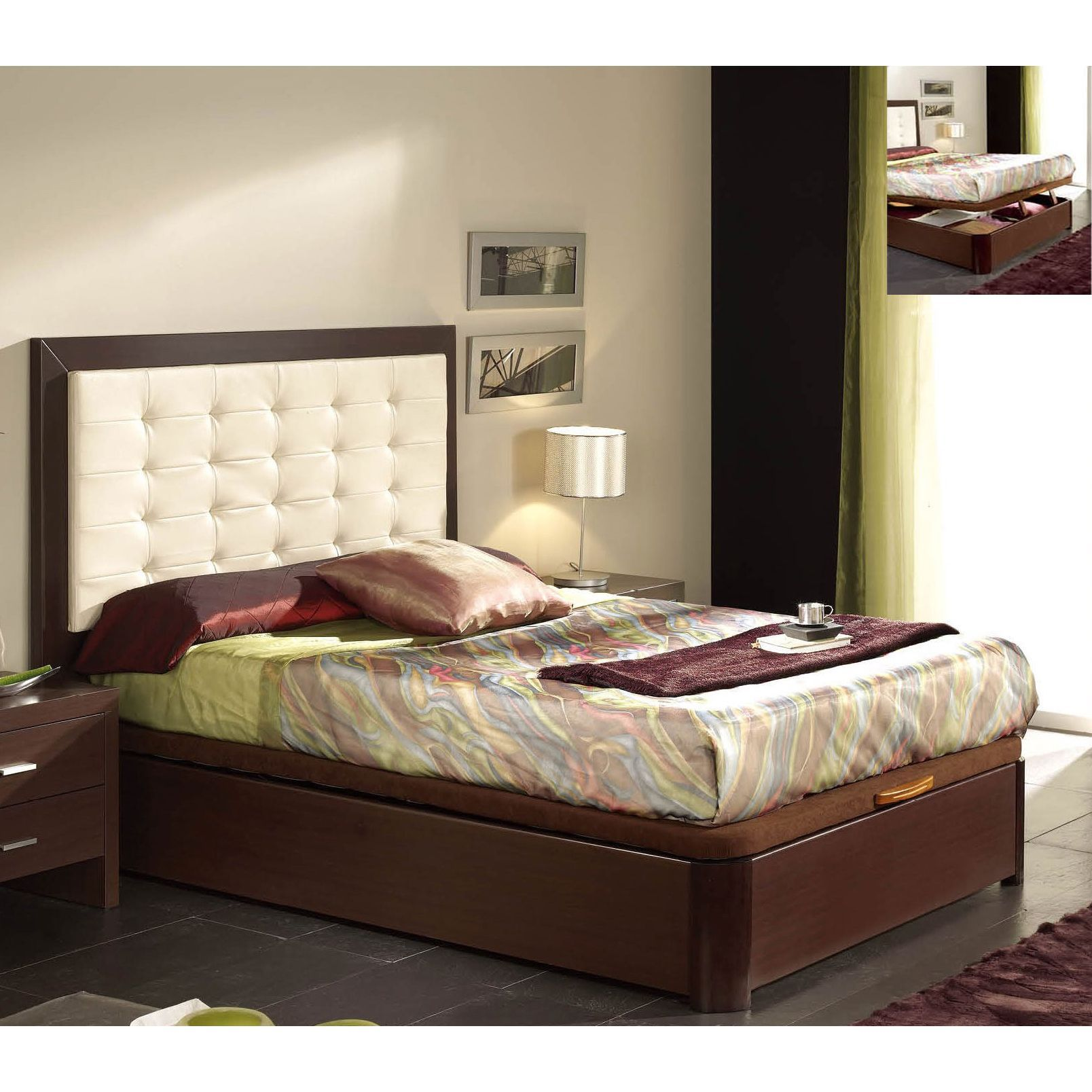 Schlafzimmer Set Luca Luca Home Queen Platform Storage Bed Cherry Cherry Finish Red