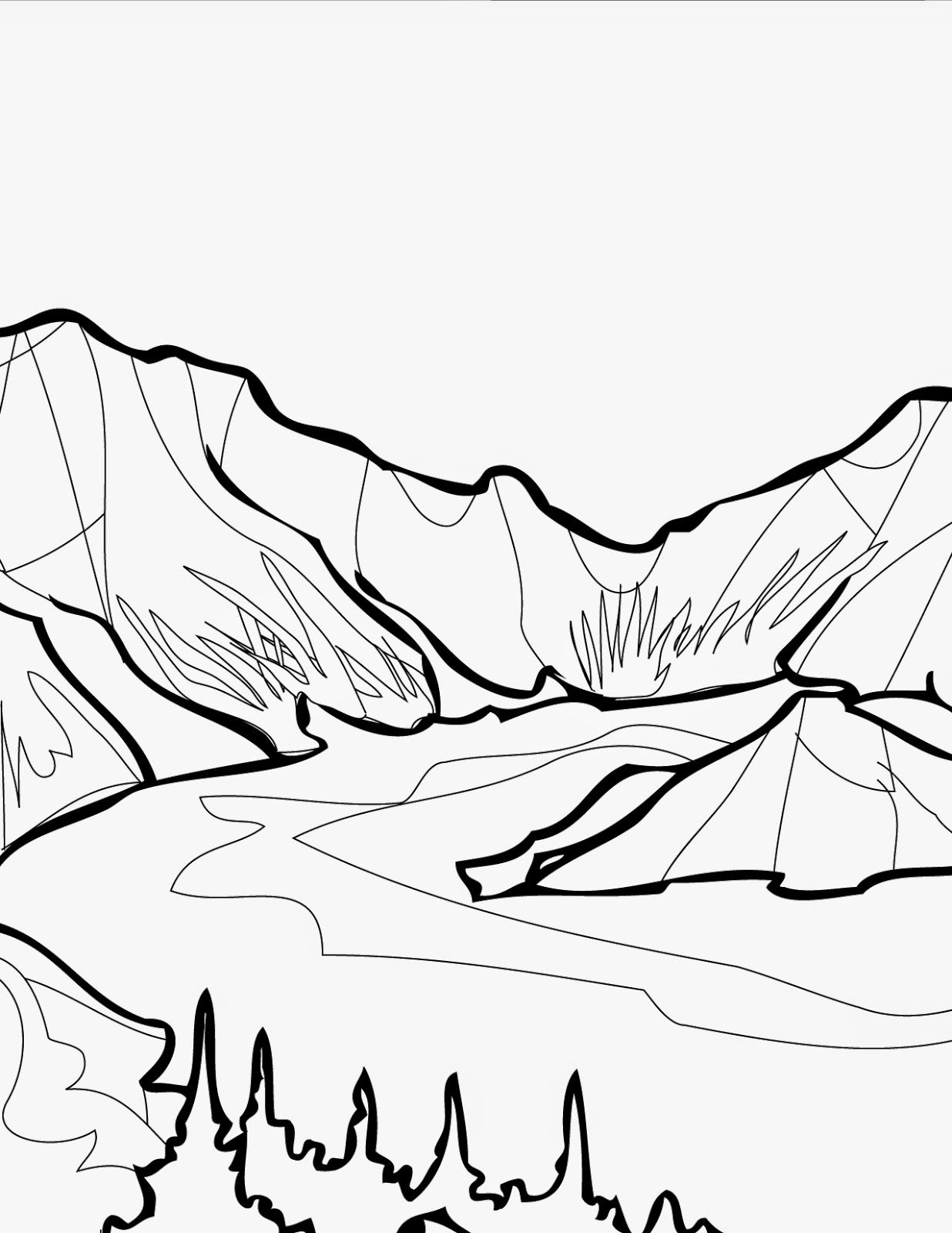 Free Mountain Lion Coloring Pages Mountain And Lake Coloring