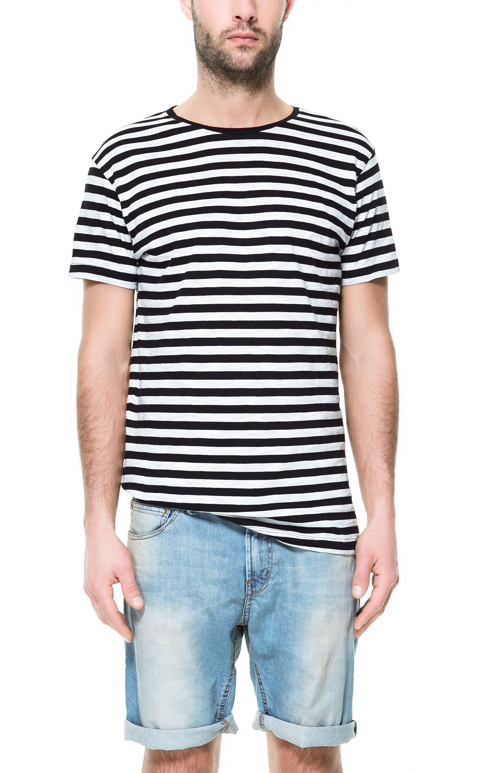 Zara black t shirt india - 8e Striped T Shirt T Shirts Man Zara Germany