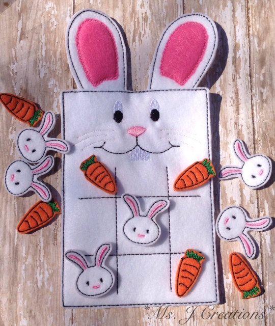 Easter Bunny Felt Tic Tac Toe Game - Toy Fun Kids Cute Gift Travel ...