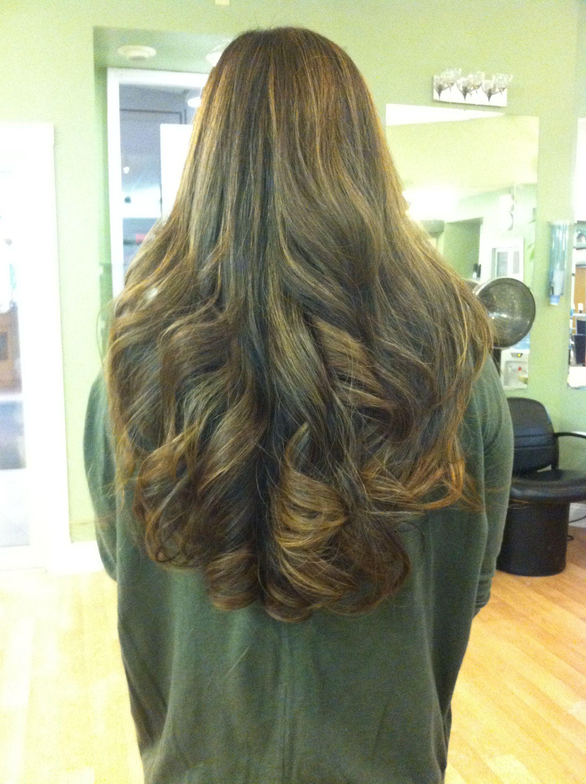 Long Carmel brown hair