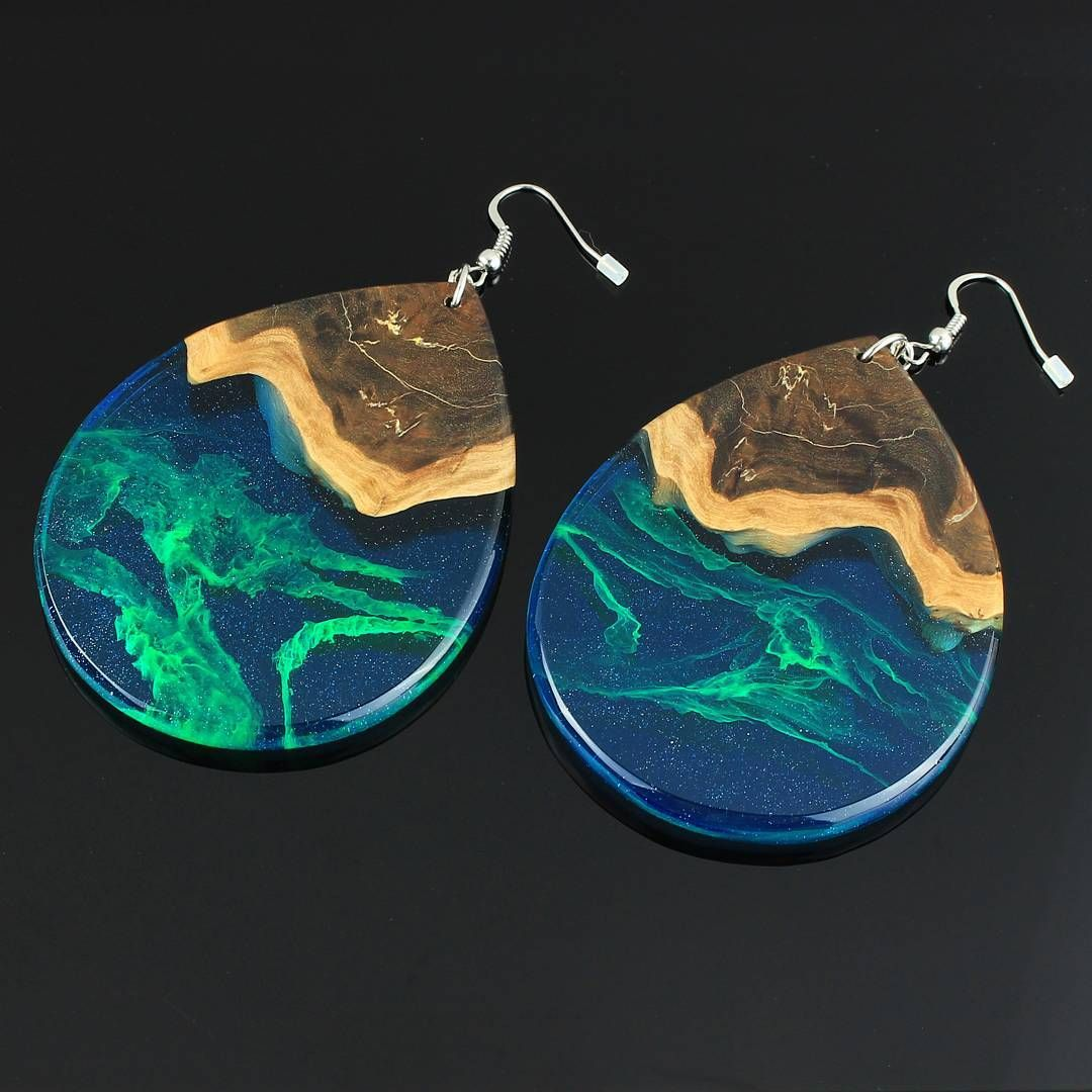 sterling painted teal boho earrings iris jewelry metal handcrafted unique elm blue silver resin small artisan