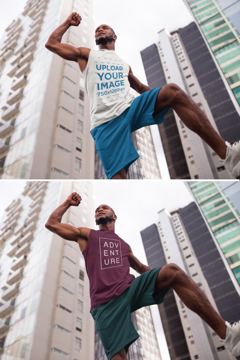Download Placeit Sleeveless Shirt Mockup Of A Man Jumping In The City While Wearing Custom Sportswear Custom Sportswear Custom Athletic Wear How To Wear