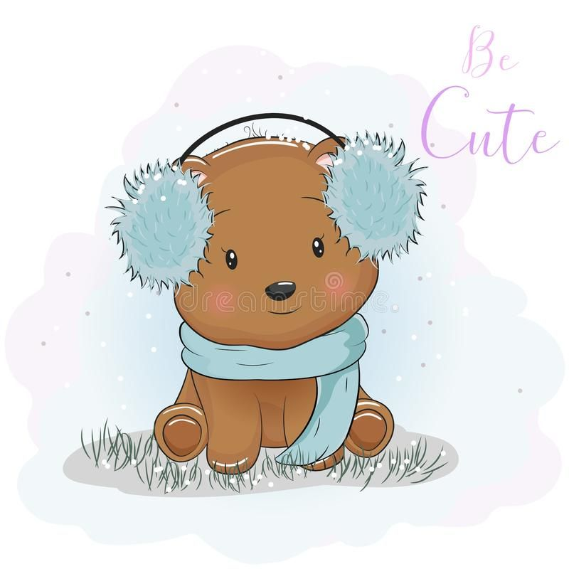 Cute Cartoon Bear With Fur Headphones And Scarf Illustration About Character Happiness Animals Cute Cartoon Drawings Teddy Bear Cartoon Cute Bear Drawings