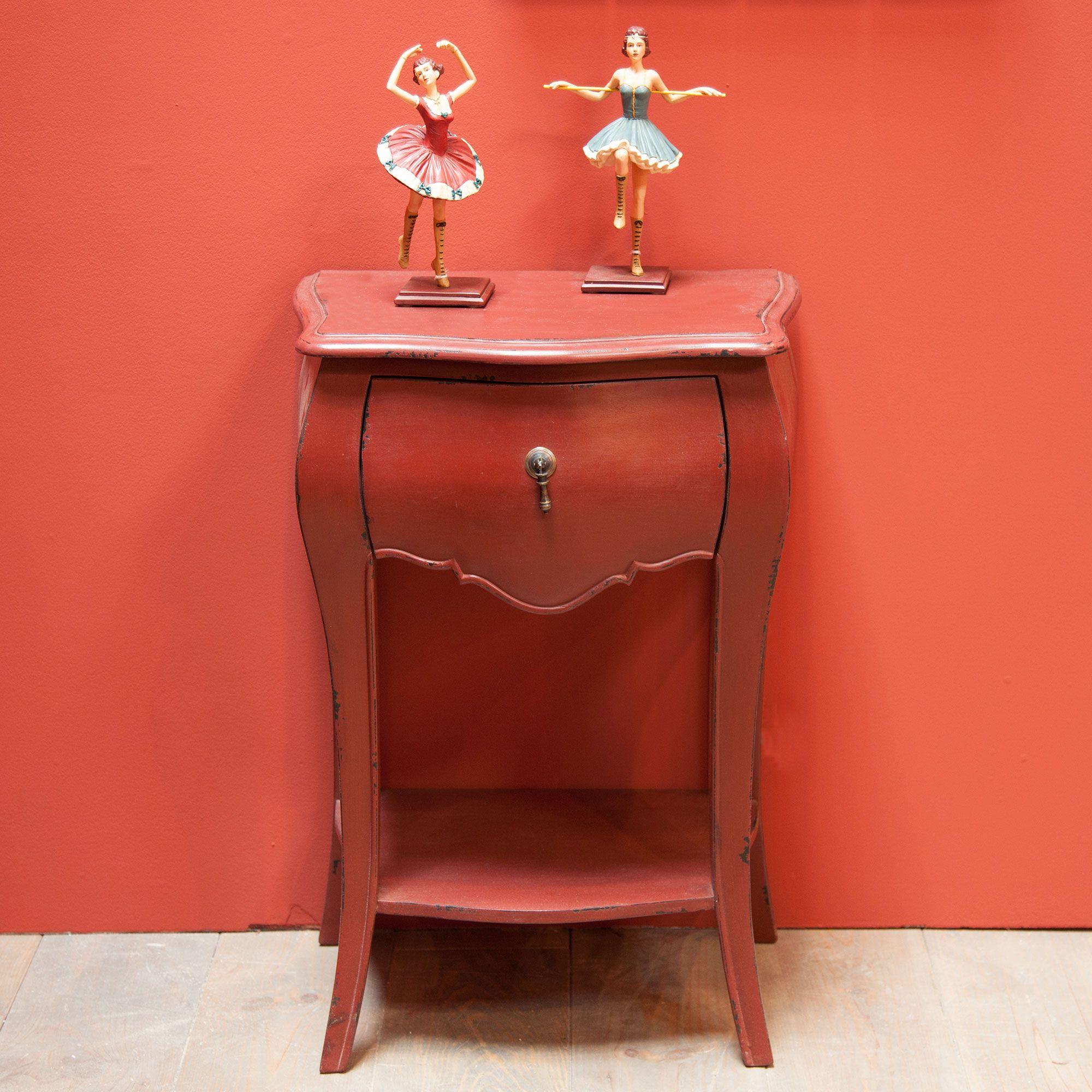 Chevet 1 tiroir bois patin rouge murano rouge amadeus Meuble patine rouge