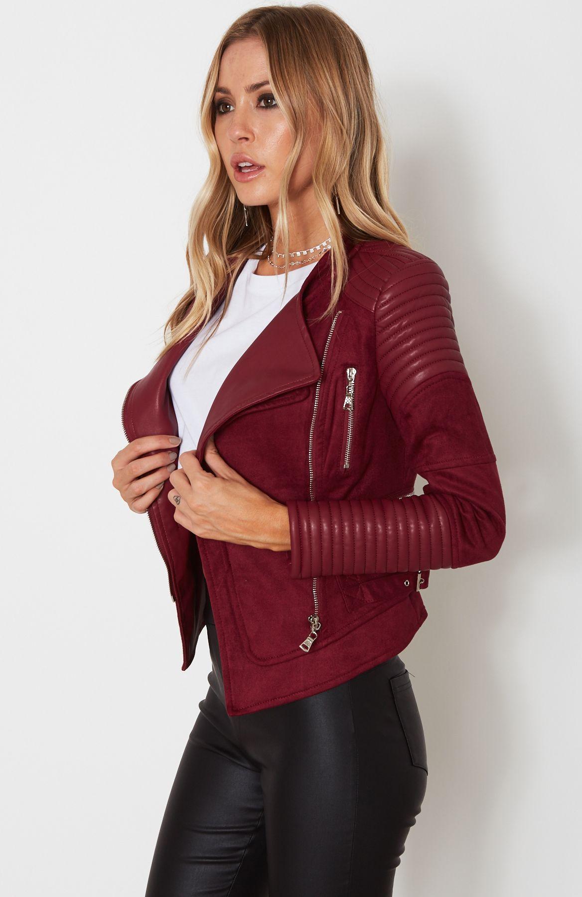 AUD 180 -- Bessy Biker Jacket Wine | White Fox | shopping ...