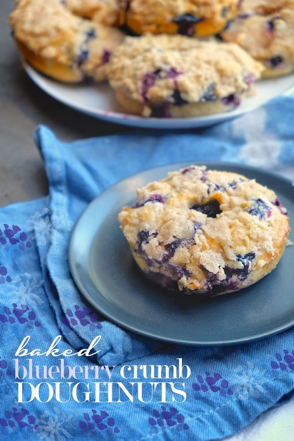 baked blueberry crumb doughnuts!
