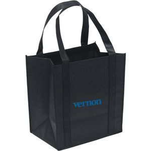 """100 GSM premium non-woven polypropylene tote with dual reinforced 20"""" handles and plastic bottom insert."""