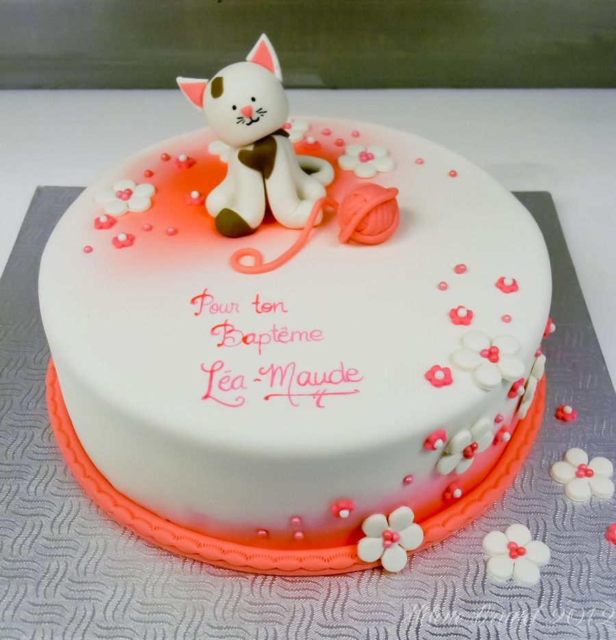 Cat themed baptism cake cat birthday Pinterest Cake