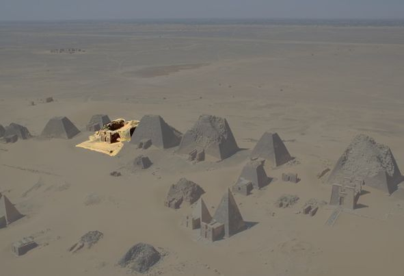 The Meroe pyramids. N6, the tomb of Amanishakheto, is highlighted