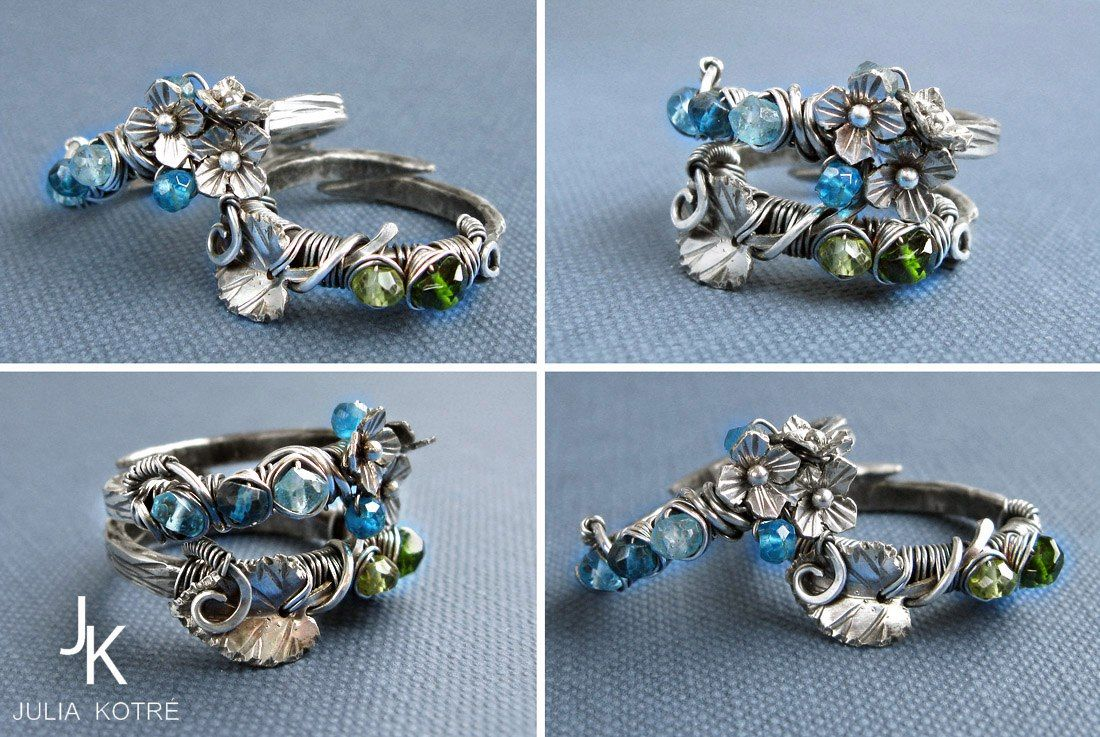Wire wrapped stackable floral silver ring set \