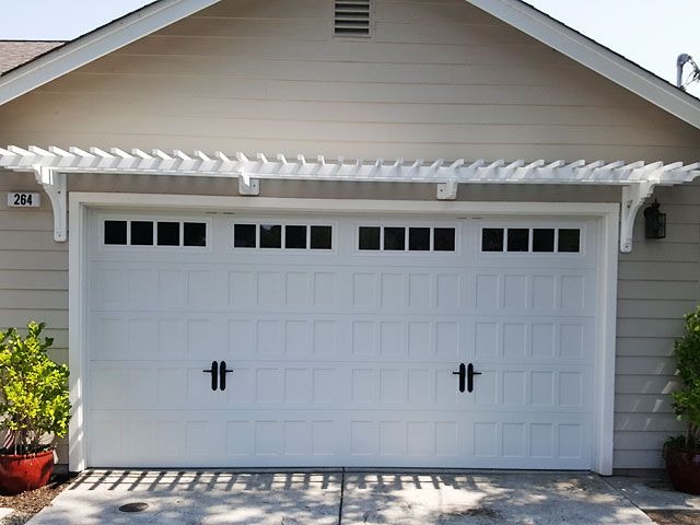 Trellis Above Double Car Garage Door Garage Exterior Double Garage Door Garage Door Trellis