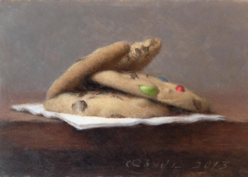 Cookies, oil on panel, 5 x 7 inches, $900