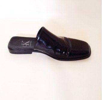 479e1eb4c7e55 Vintage 90s calvin klein black leather mules slides closed toe flat ...