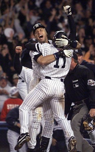 Jeter becomes Mr. November on Nov 1st, 2001 after his hit Diamondbacks' Byung-Hyun Kim's pitch over the right field wall to give the Yankees a walkoff win in the 10th inning of Game 4 of the World Series.