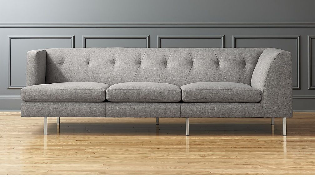 Charmant Avec Grey Left Arm Corner Sofa With Brushed Stainless Steel Legs