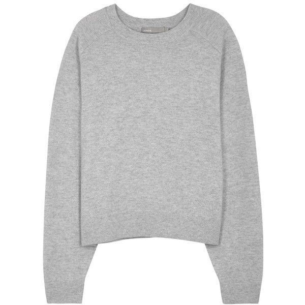 Vince Grey MÃlange Cashmere Jumper - Size L (£360) ❤ liked on Polyvore featuring tops, sweaters, vince tops, grey cashmere sweater, cashmere jumpers, raglan top and vince sweaters
