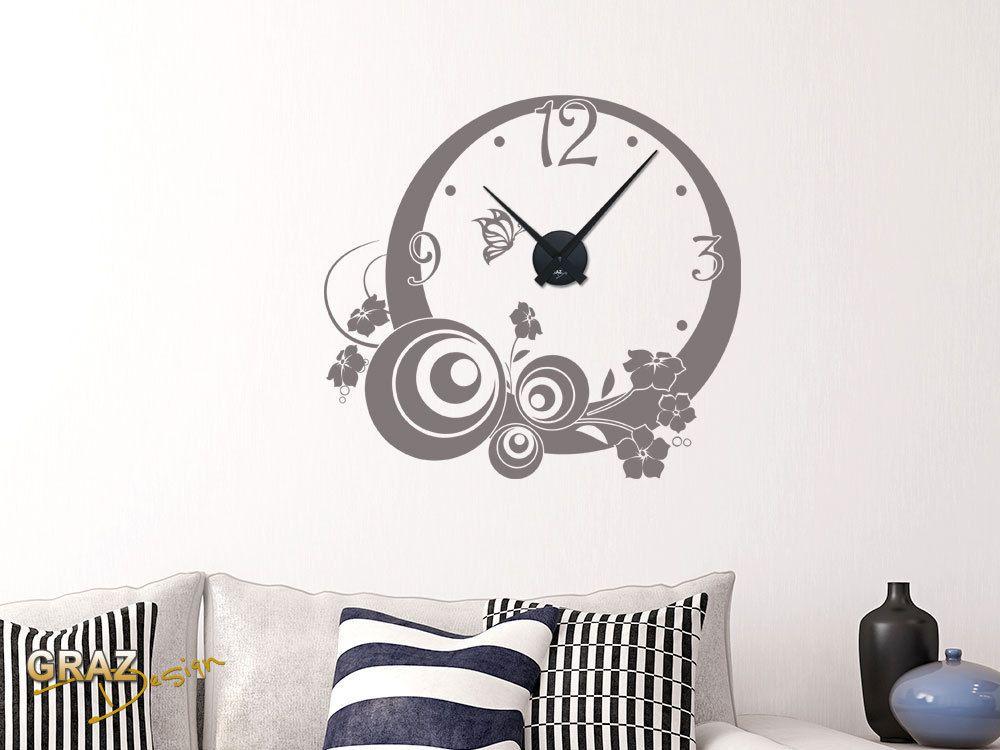 Wandtattoo Uhr Mit Uhrwerk Wanduhr Wohnzimmer Ornamente Design Zahlen