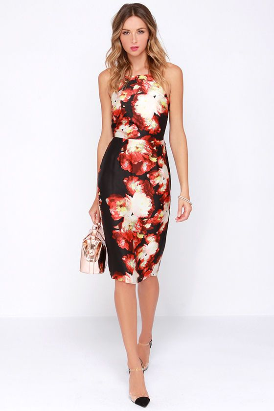 Front Rose Seats Black and Red Floral Print Midi Dress | Casual ...