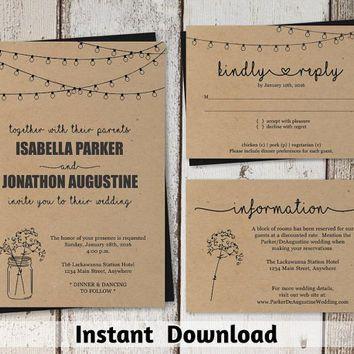 Wedding Invitation Template Mason Jar Rustic Printable Set