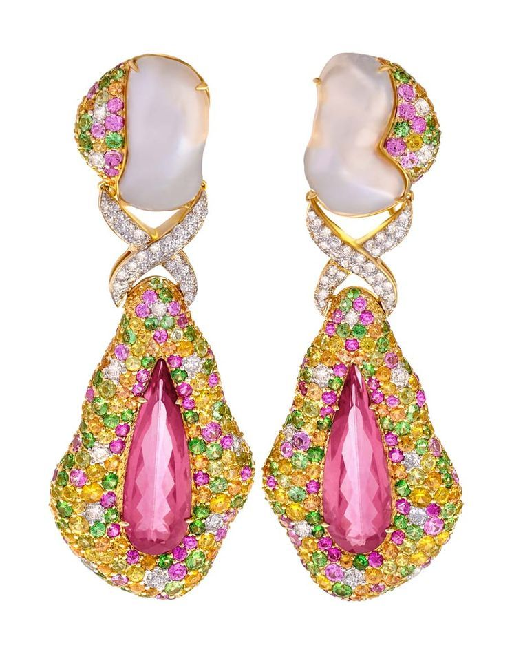 Margot McKinney rubellite drop earrings with Baroque South Sea pearls, sapphires and diamonds