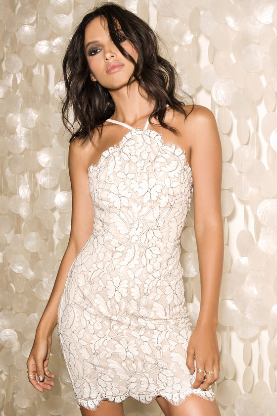 3d548d8412 Delicate Darling Beige and Ivory Lace Bodycon Dress | dances | Lace ...