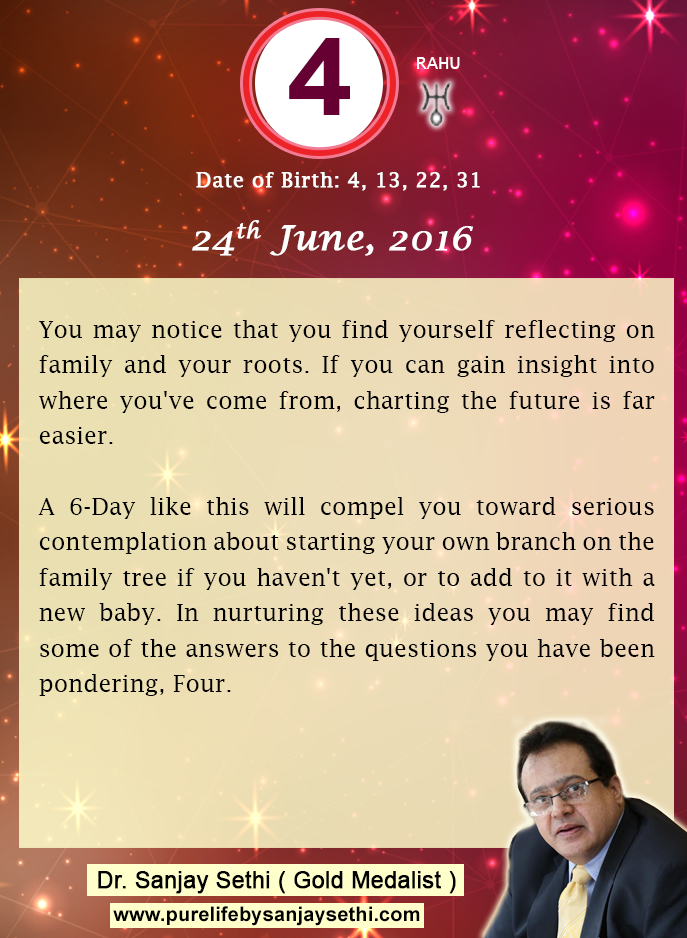 #Numerology‬ predictions for 24th June'16 by Dr.Sanjay Sethi-Gold Medalist and World's No.1 #AstroNumerologist.