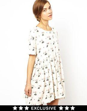 Ganni Exclusive to ASOS Smock Dress in Rosebud Print