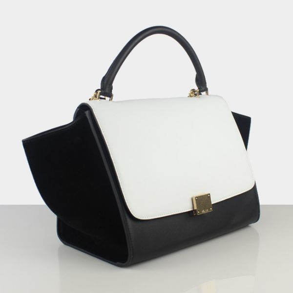 Celine Trapeze Bag Leather White Black