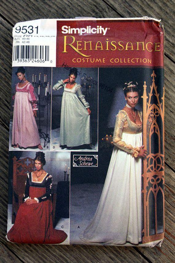 UNCUT FF Simplicity Pattern 9531 Womens Renaissance Dress Costume ...