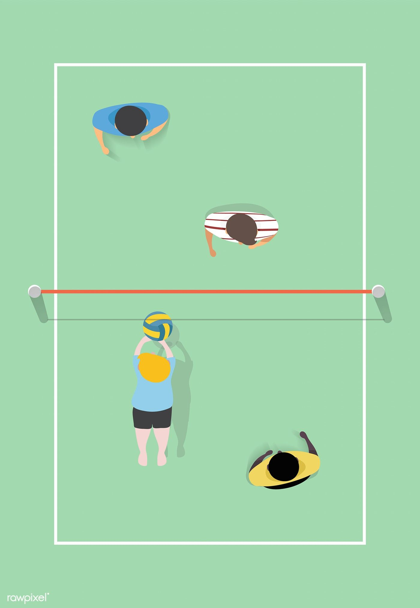 Vector Of People Playing Volleyball Free Image By Rawpixel Com Free Illustrations Volleyball Vector
