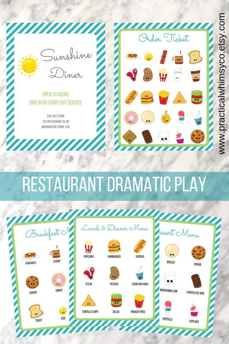 Pretend Restaurant Preschool Printables Menu Instant Download Diner Preschool Curriculm Pretend Play Homeschool Play Menu Dramatic Play Dramatic Play Centers [ 1191 x 794 Pixel ]