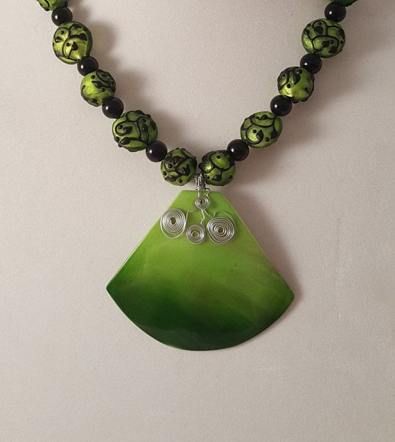 Green Sea Shell Necklace  Sea Shell Necklace by CandisBeadBoutique