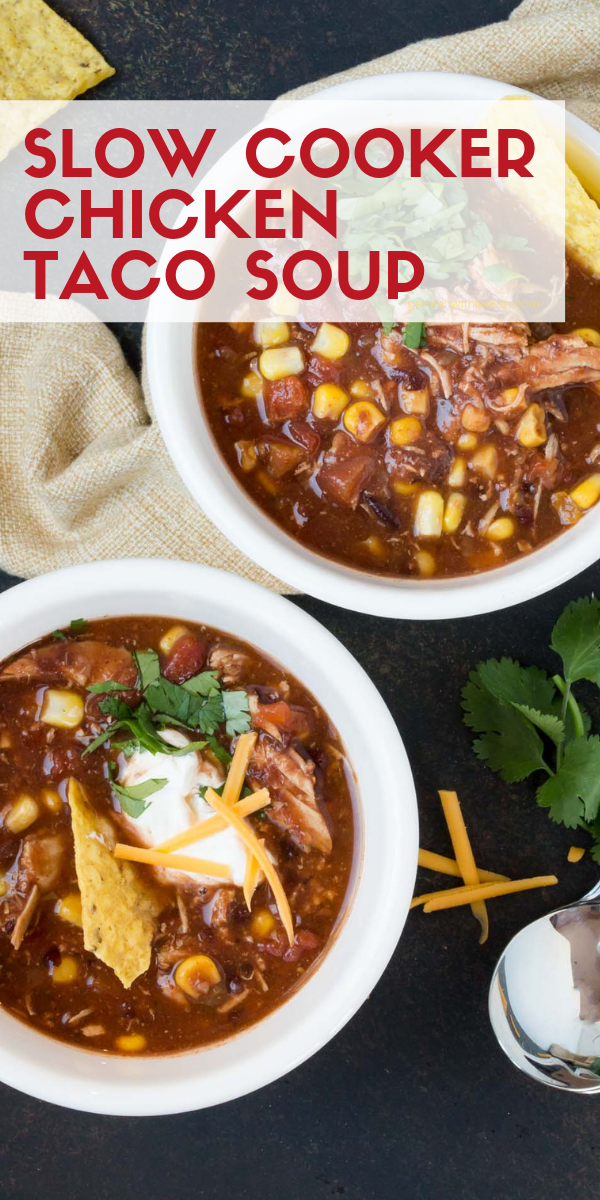 Slow Cooker Chicken Taco Soup Need a weeknight meal that is hearty, filling and easy? Slow Cooker Chicken Taco Soup is the answer! It's a family favorite made with ingredients you probably already have in your pantry.