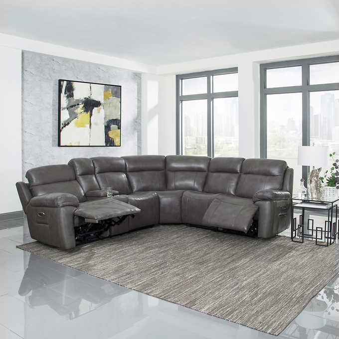Atticus 3 Piece Leather Sectional With Power Recline Headrest And Lumbar Leather Sectional Leather Sectional Sofas Living Room Leather