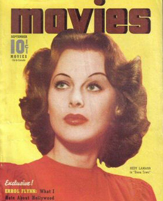 """Hedy Lamarr on the front cover of """"Movies"""" magazine, USA, September 1940."""