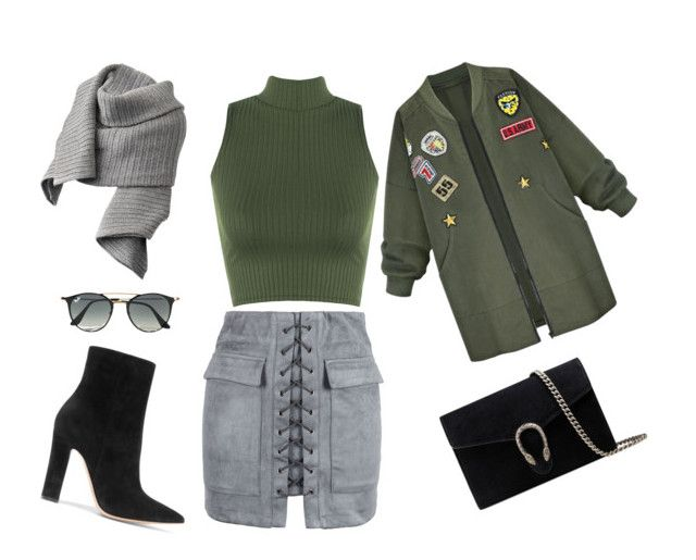 """""""Military girl"""" by stacyco ❤ liked on Polyvore featuring WithChic, WearAll, Gianvito Rossi, Gucci, Ray-Ban and Acne Studios"""
