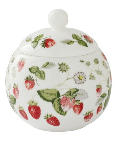 Look at this #zulilyfind! Green & Red Strawberry Sugar Bowl #zulilyfinds