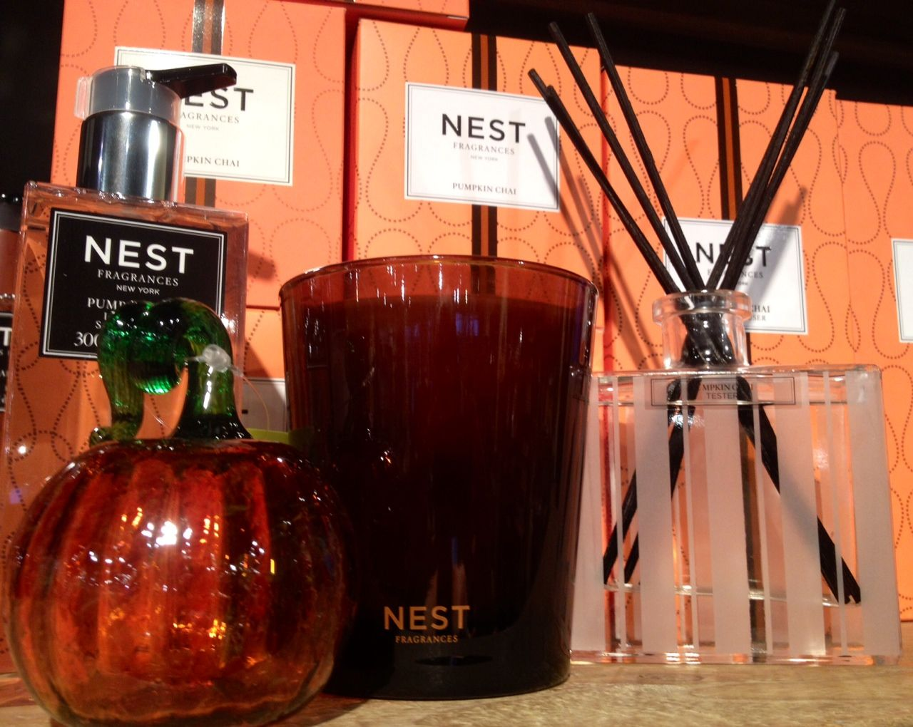 NEST Fragrances Pumpkin Chai scent is in! Added to the line this year in a reed diffuser and liquid soap! #OutsideInspirations