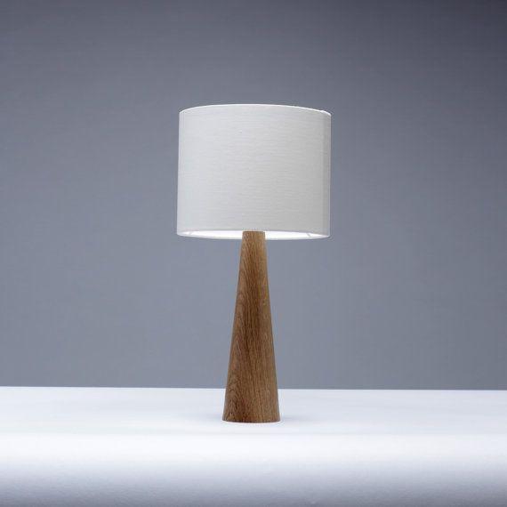 Oak Bedside Table Lamp Cone Shape Etsy In 2020 Table Lamp Bedside Table Lamps Wood Small Table Lamp