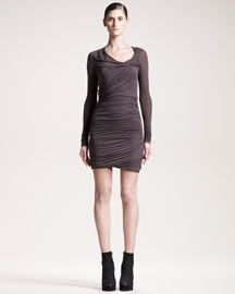 T54DH Helmut Lang Twisted Jersey Dress, Moody Gray