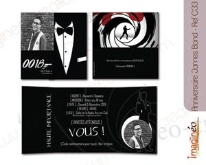 Extremement carton d'invitation anniversaire, james bond, thème noir et blanc TK-35