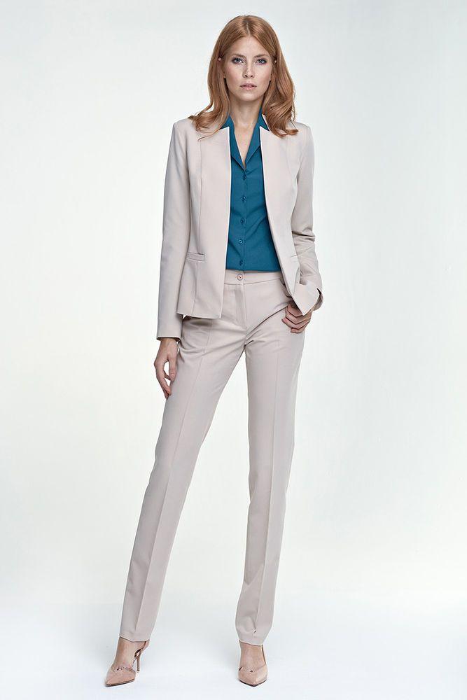 804ccee5471 Détails sur Ensemble tailleur costume femme pantalon + veste beige top  qualité NIFE sd25 z18
