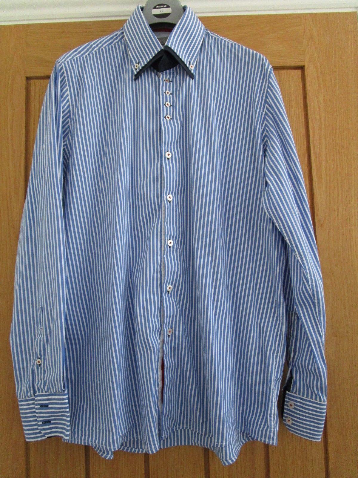 LAURA ASHLEY MEN'S SHIRT BLUE & WHITE STRIPE SIZE XL WORN ONCE | eBay