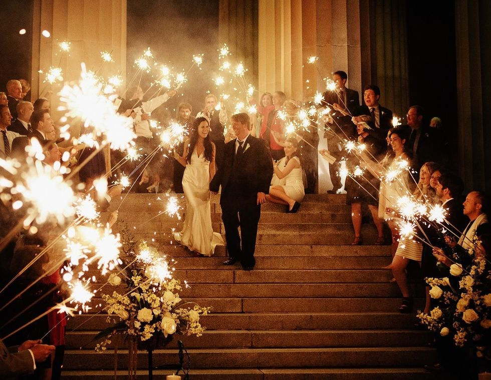 """Lauren and Jon - The sparklers were the perfect end to a wonderful evening! We received so many comments on how fun the """"Grand Send-Off"""" was at the end of our wedding - Kristyn Hogan Photography"""