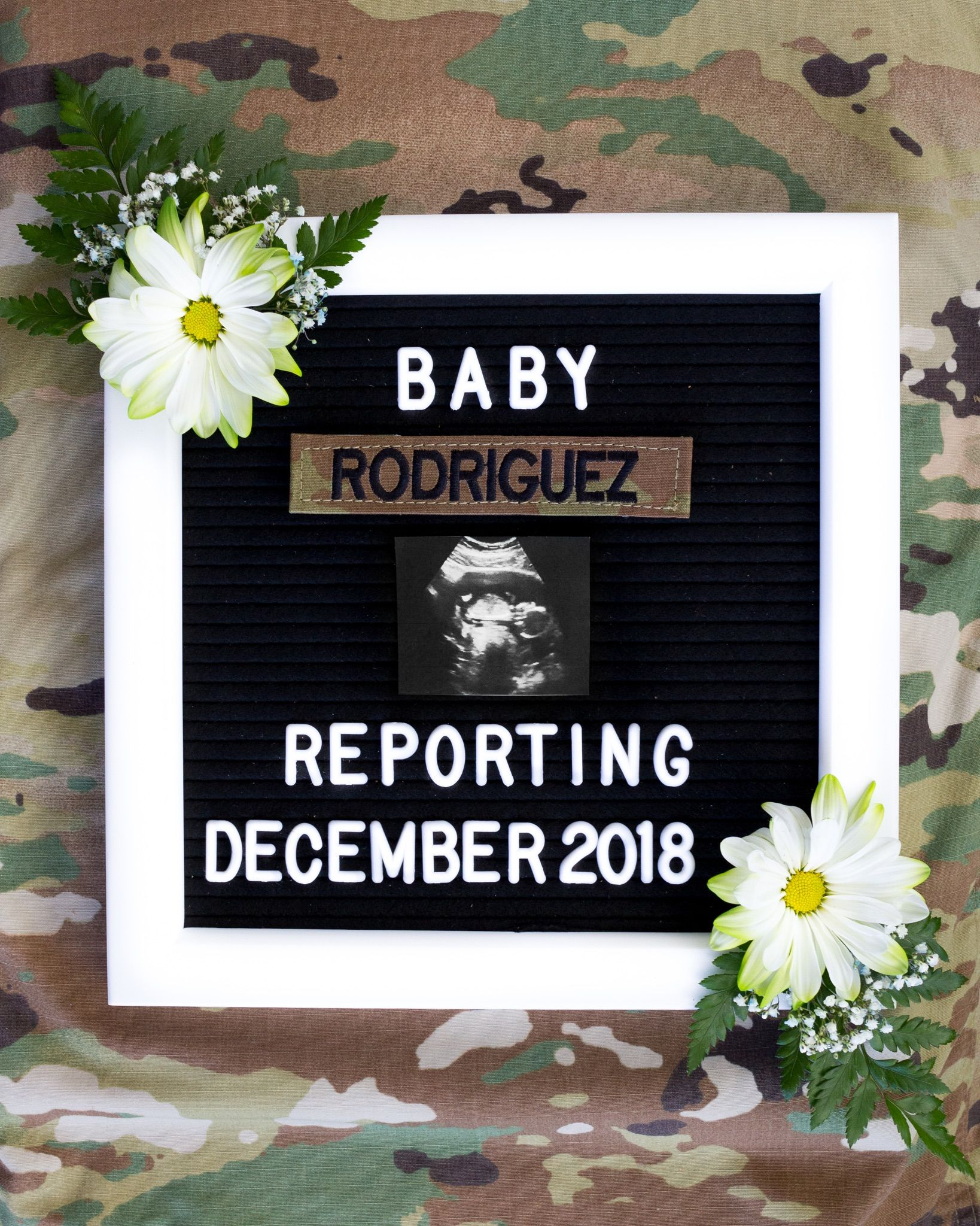 Baby announcement for military parents idea. Ultrasound