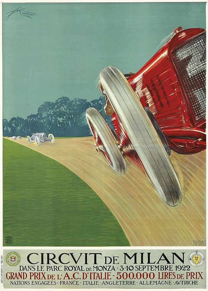 Artist: ALDO MAZZA (1880-1964) Size: 55 x 77 3/4 in./139.5 x 197.5 cm G. Ricordi, Milano  This was the second Italian Grand Prix, the first having been held in Brescia the year prior. The race inaugurated a new track just completed at Monza (the third permanent autodrome in the world), and was a runaway success for Fiat with Pietro Bordino in the winning car. This is the French-text, larger, two-sheet version of the poster.