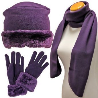 Purple Cloche Fur Trim Fleece 3 Piece Hat Scarf & Glove Set Luxury Divas. $17.99