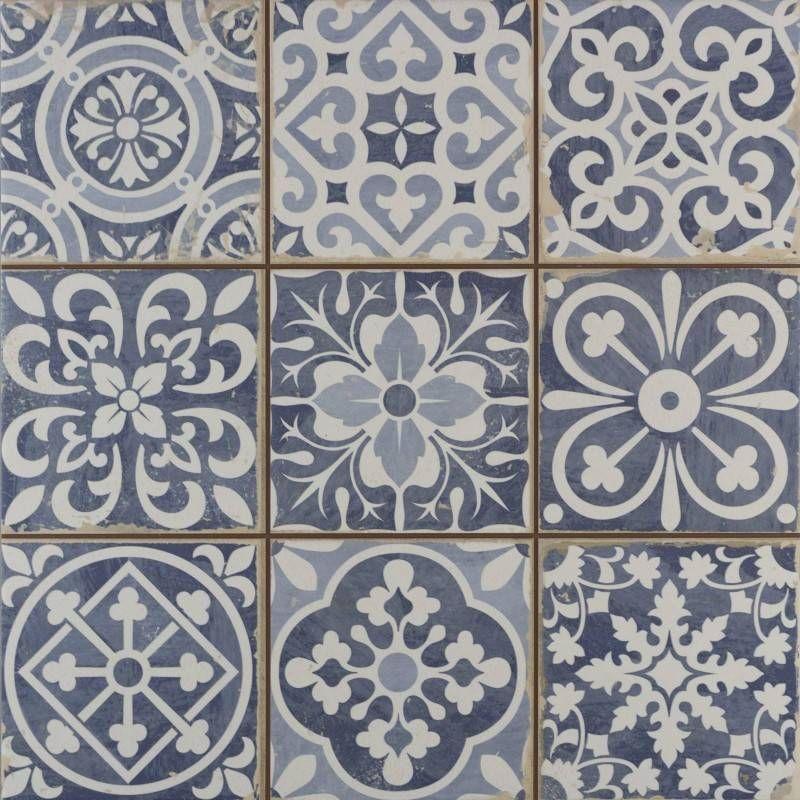 Faenza Rustic Blue Patterned Matt Tiles Vintage Tile Blue Tile